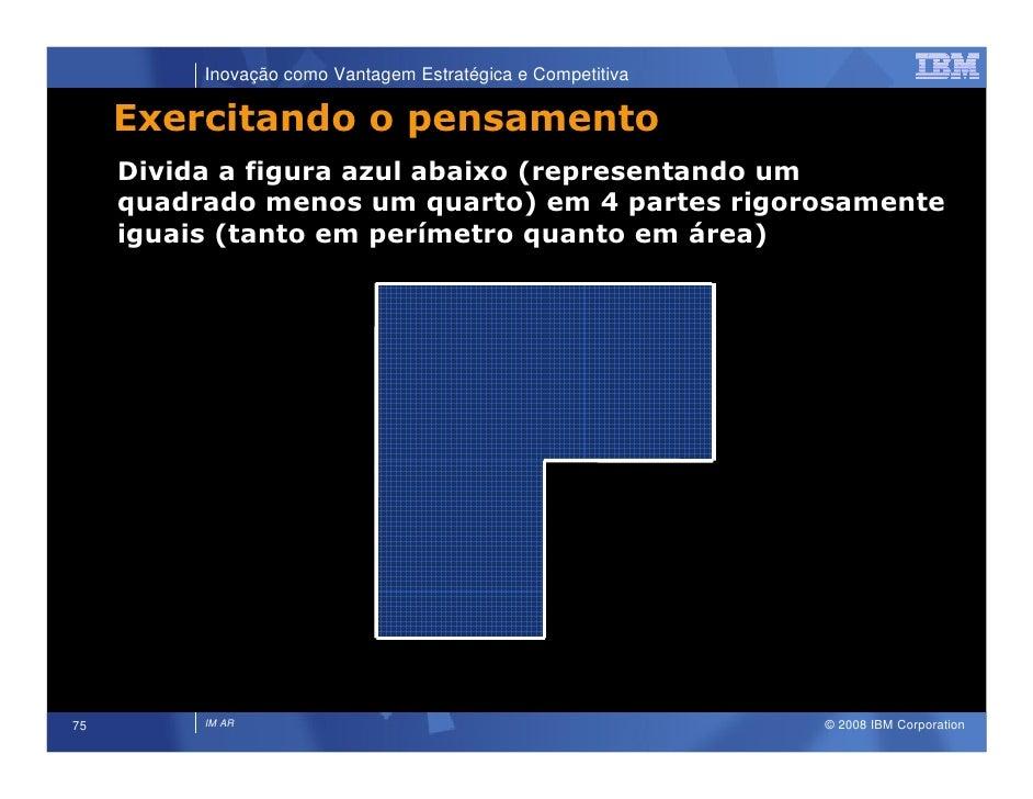 Inovação como Vantagem Estratégica e Competitiva       Exercitando o pensamento      Divida a figura azul abaixo (represen...