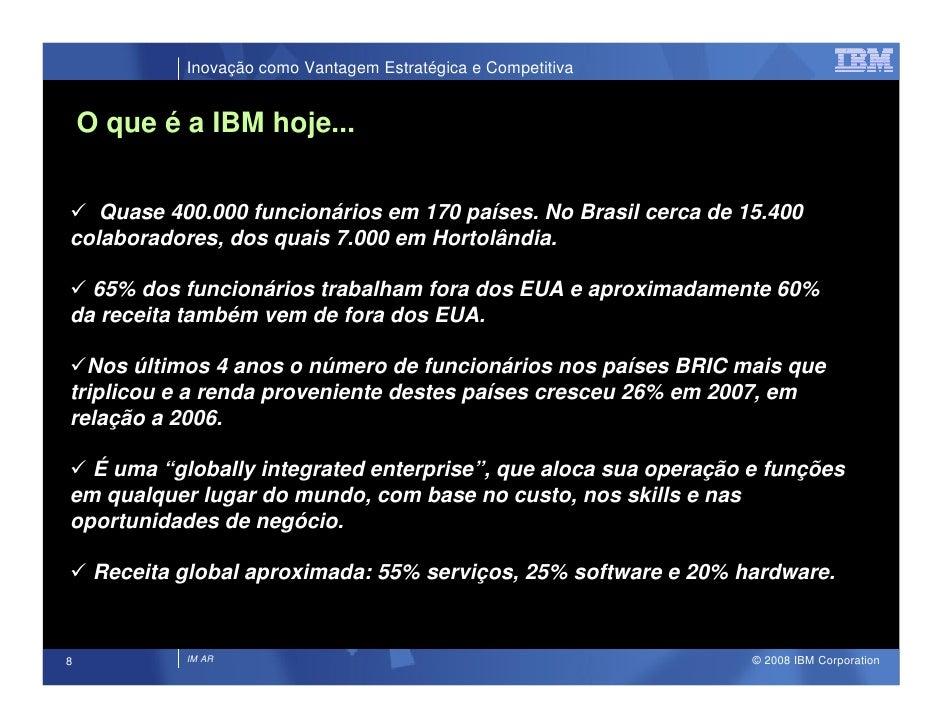 Inovação como Vantagem Estratégica e Competitiva       O que é a IBM hoje...      Quase 400.000 funcionários em 170 países...