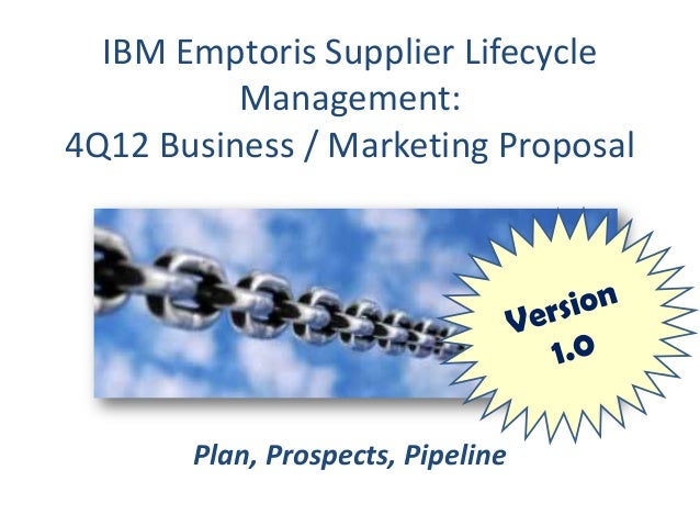 IBM Emptoris Supplier Lifecycle          Management:4Q12 Business / Marketing Proposal       Plan, Prospects, Pipeline