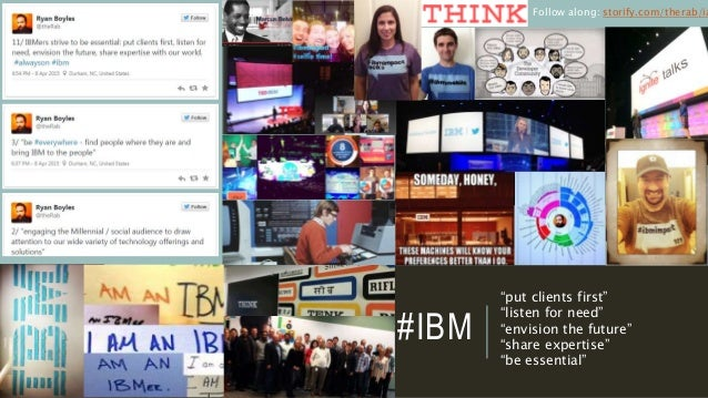 """#IBM """"put clients first"""" """"listen for need"""" """"envision the future"""" """"share expertise"""" """"be essential"""" Follow along: storify.co..."""