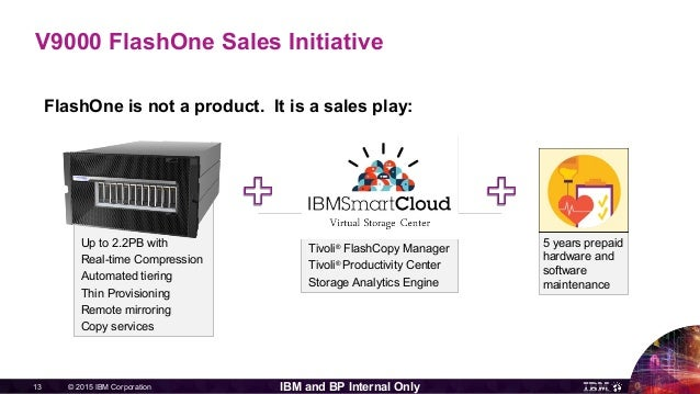 © 2015 IBM Corporation13 IBM and BP Internal Only V9000 FlashOne Sales Initiative FlashOne is not a product. It is a sales...
