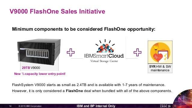 © 2015 IBM Corporation14 IBM and BP Internal Only Minimum components to be considered FlashOne opportunity: FlashSystem V9...