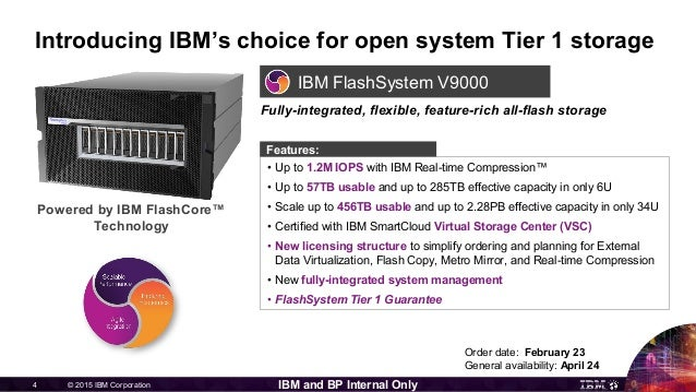 © 2015 IBM Corporation4 IBM and BP Internal Only IBM FlashSystem V9000 Introducing IBM's choice for open system Tier 1 sto...