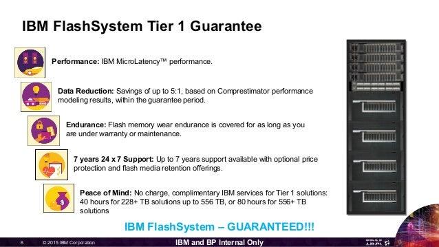 © 2015 IBM Corporation6 IBM and BP Internal Only IBM FlashSystem Tier 1 Guarantee Data Reduction: Savings of up to 5:1, ba...