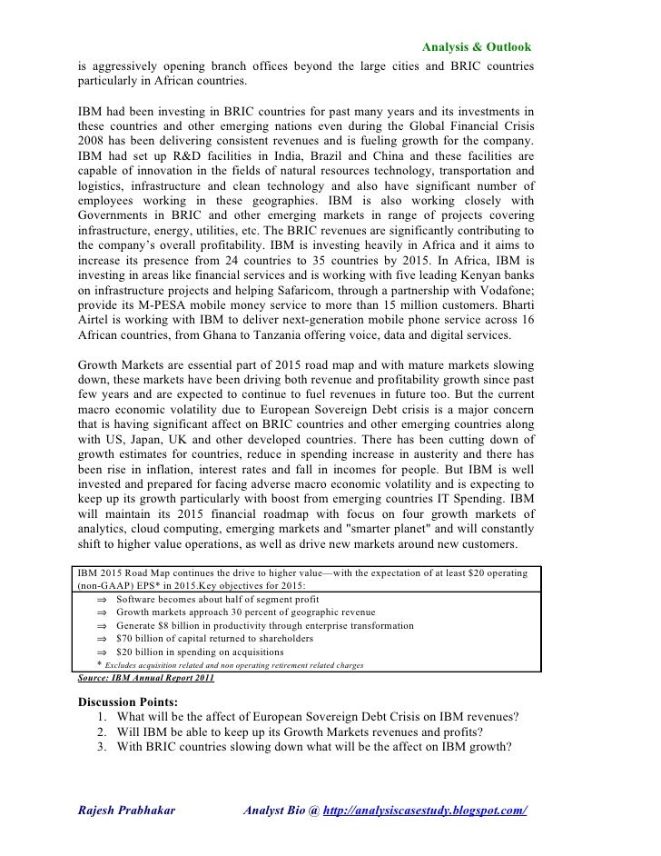 mkt case ibm View notes - case1 from mkt mkt 450 at university of tampa mkt 450 11/5/2008 case study: ibm a fading giant rejuvenates 1 in 1982 ibm faced a decision which delegated the production of software and.