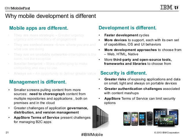 © 2013 IBM Corporation21 First #IBMMobile Why mobile development is different • Smaller screens pulling content from more...