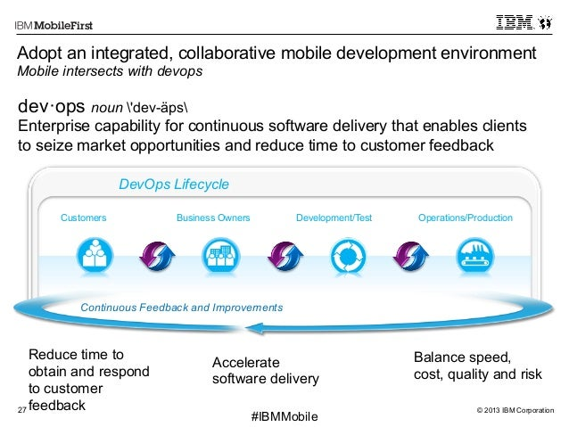 © 2013 IBM Corporation27 First #IBMMobile dev·ops noun 'dev-äps Enterprise capability for continuous software delivery tha...