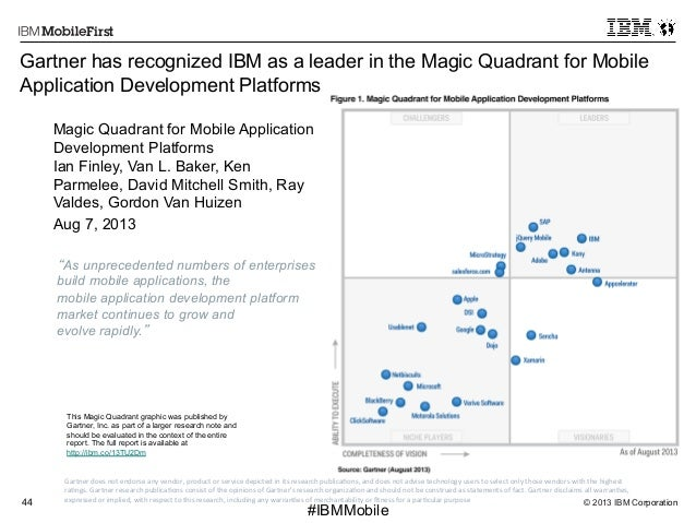 © 2013 IBM Corporation44 First #IBMMobile Gartner  does  not  endorse  any  vendor,  product  or  service...