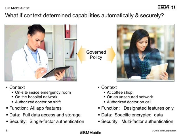© 2013 IBM Corporation51 First #IBMMobile#IBMMobile What if context determined capabilities automatically & securely? • C...