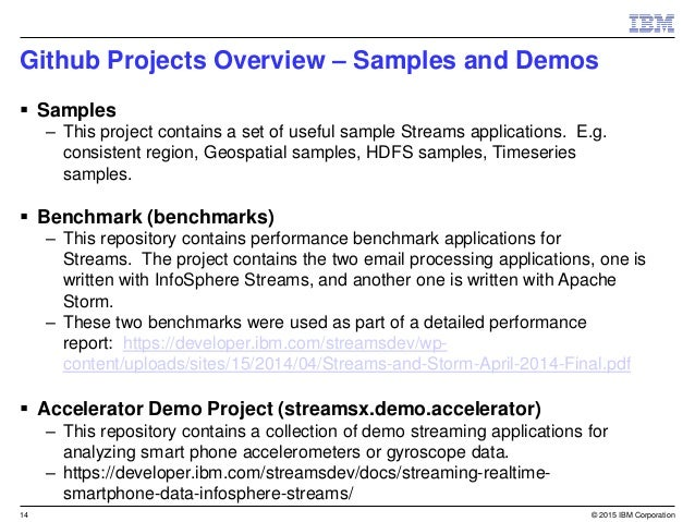 Streams GitHub Products Overview for IBM InfoSphere Streams V4 0