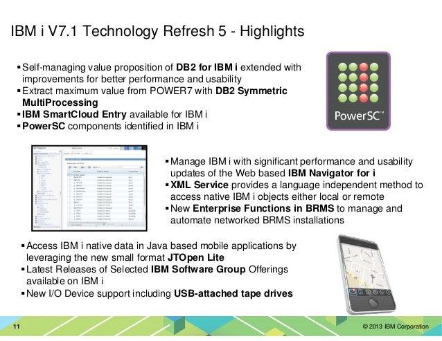 © 2013 IBM Corporation11 IBM i V7.1 Technology Refresh 5 - Highlights Self-managing value proposition of DB2 for IBM i ext...