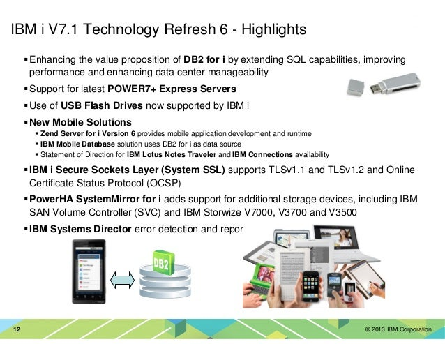 © 2013 IBM Corporation12 IBM i V7.1 Technology Refresh 6 - Highlights Enhancing the value proposition of DB2 for i by exte...