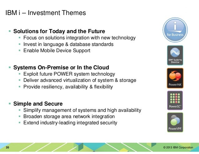 © 2013 IBM Corporation20 IBM i – Investment Themes Solutions for Today and the Future Focus on solutions integration with ...