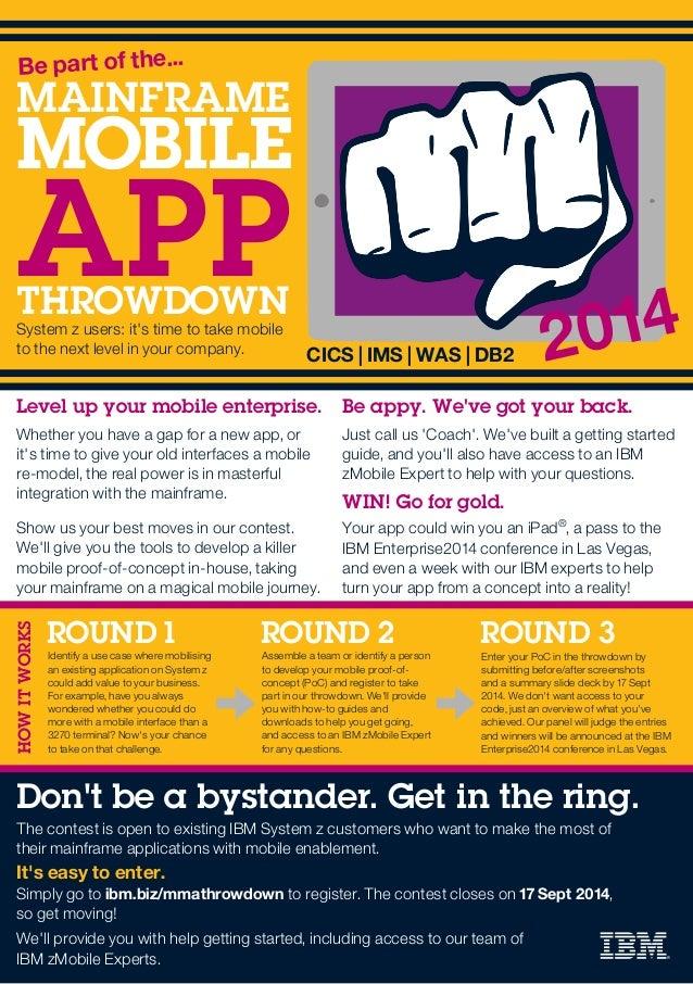 ibm mainframe mobile app throwdown flyer
