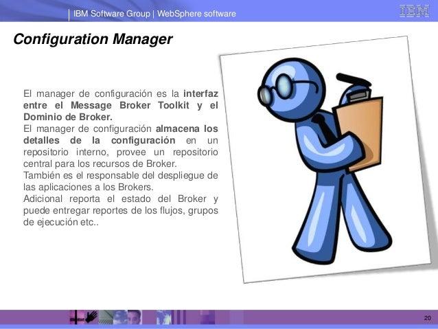 IBM Software Group | WebSphere softwareConfiguration Manager El manager de configuración es la interfaz entre el Message B...