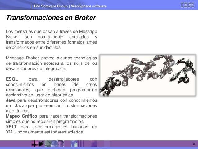 IBM Software Group | WebSphere softwareTransformaciones en BrokerLos mensajes que pasan a través de MessageBroker son norm...