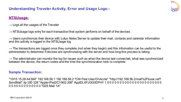IBM Notes Traveler Administration and Log Troubleshooting
