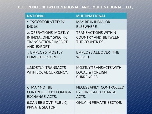 differences between a multinational corporation mnc and one that is multi domestic Documents similar to difference between a global, transnational, international and multinational company « lee iwan accumulated experience the role of transnational corporations in a global market uploaded by.