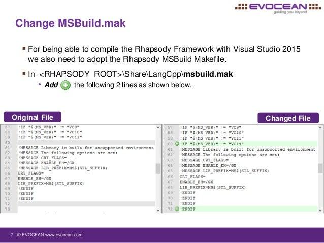 IBM Rational Rhapsody support for Microsoft Visual Studio 2015