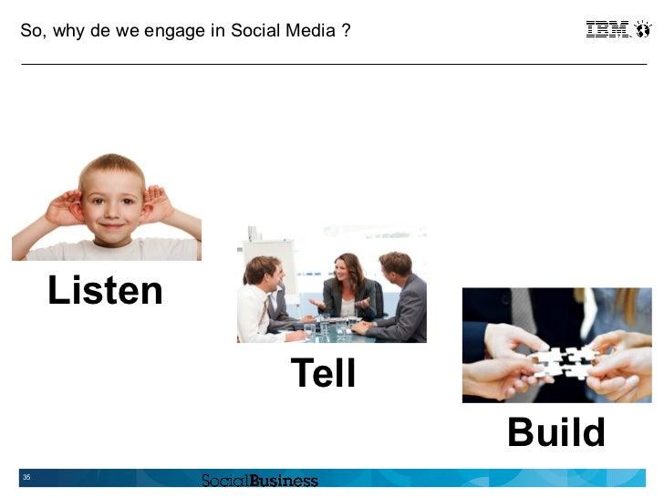 So, why de we engage in Social Media ?     Listen                               Tell                                      ...