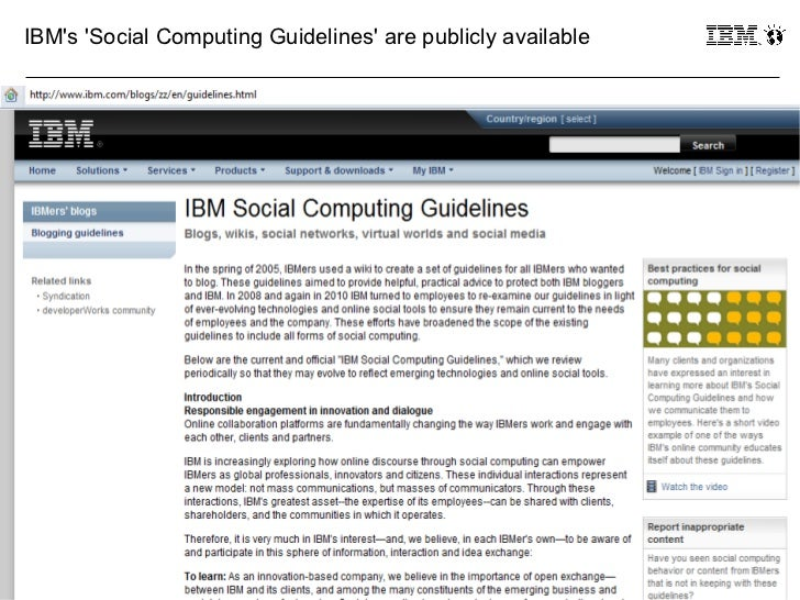 IBMs Social Computing Guidelines are publicly available41                                                           © 2011...