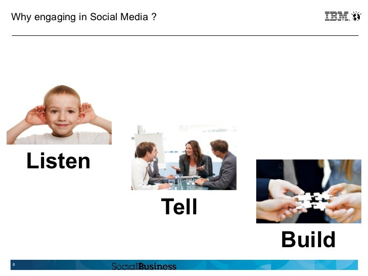 Why engaging in Social Media ?    Listen                                 Tell                                        Build8