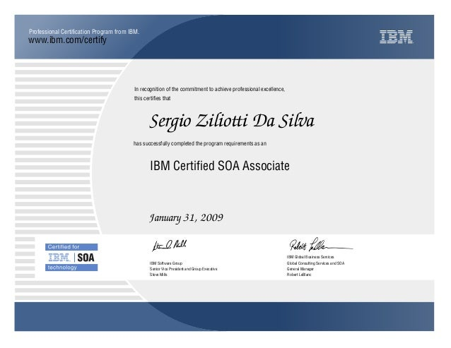 Ibm Certified Soa Associate Certificate