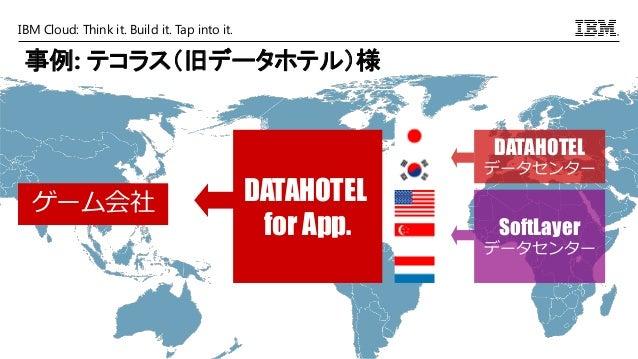 IBM Cloud: Think it. Build it. Tap into it. ゲーム会社 DATAHOTEL データセンター SoftLayer データセンター DATAHOTEL for App. 事例: テコラス(旧データホテル)様