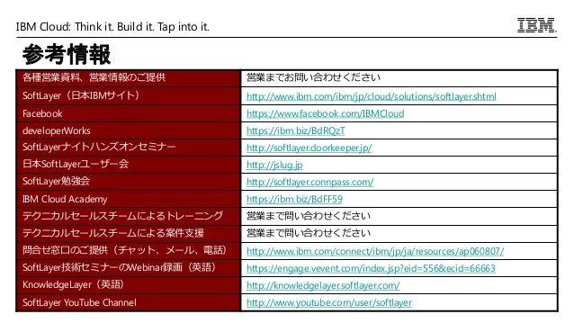 IBM Cloud: Think it. Build it. Tap into it. 参考情報 各種営業資料、営業情報のご提供 営業までお問い合わせください SoftLayer(日本IBMサイト) http://www.ibm.com/ibm...