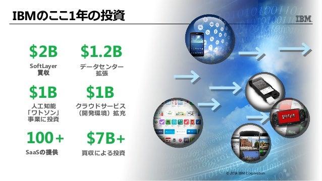 IBMのここ1年の投資 $2B SoftLayer 買収 $1.2B データセンター 拡張 $7B+ 買収による投資 100+ SaaSの提供 $1B クラウドサービス (開発環境)拡充 © 2014 IBM Corporation $1B 人...