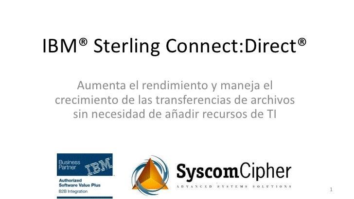 IBM® Sterling Connect:Direct®     Aumenta el rendimiento y maneja el crecimiento de las transferencias de archivos    sin ...