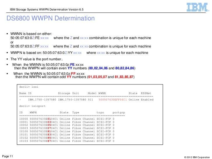 IBM Storage Systems WWPN Determination Version 6.5  DS6800 WWPN Determination   WWNN is based on either:    50:05:07:63:0...