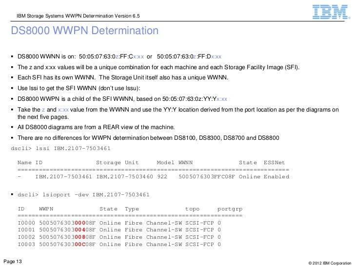 IBM Storage Systems WWPN Determination Version 6.5  DS8000 WWPN Determination   DS8000 WWNN is on: 50:05:07:63:0z:FF:Cx:x...