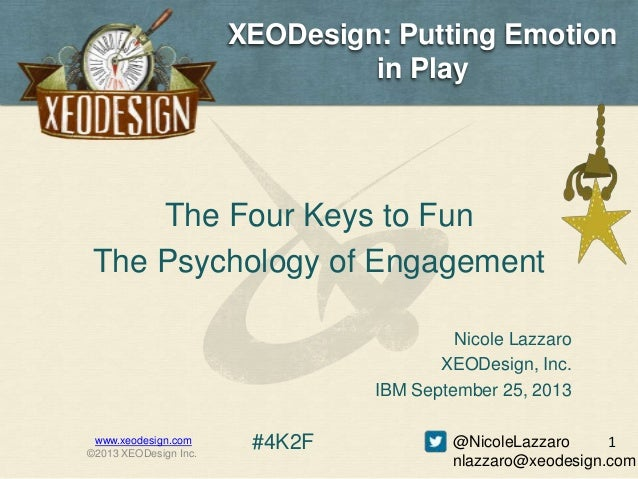 XEODesign: Putting Emotion in Play The Four Keys to Fun The Psychology of Engagement www.xeodesign.com ©2013 XEODesign Inc...