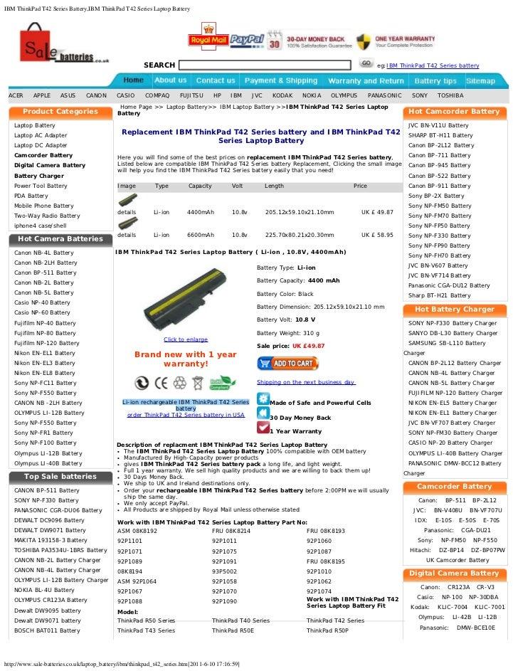 IBM ThinkPad T42 Series Battery,IBM ThinkPad T42 Series Laptop Battery                                                    ...