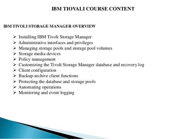 IBM TIVOLI Training | IBM TIVOLI Online Training in Hyderabad - GOT