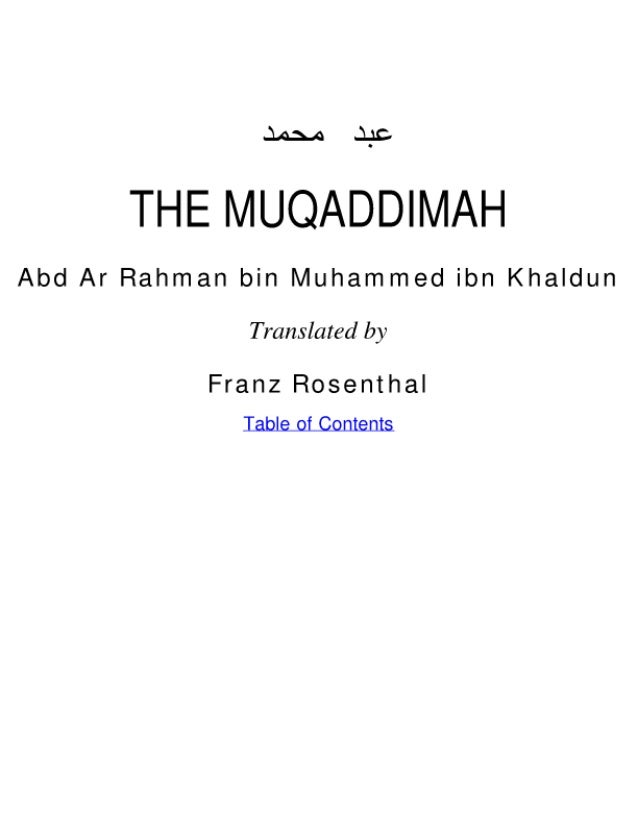 Ibn Khaldun - Al Muqaddimah