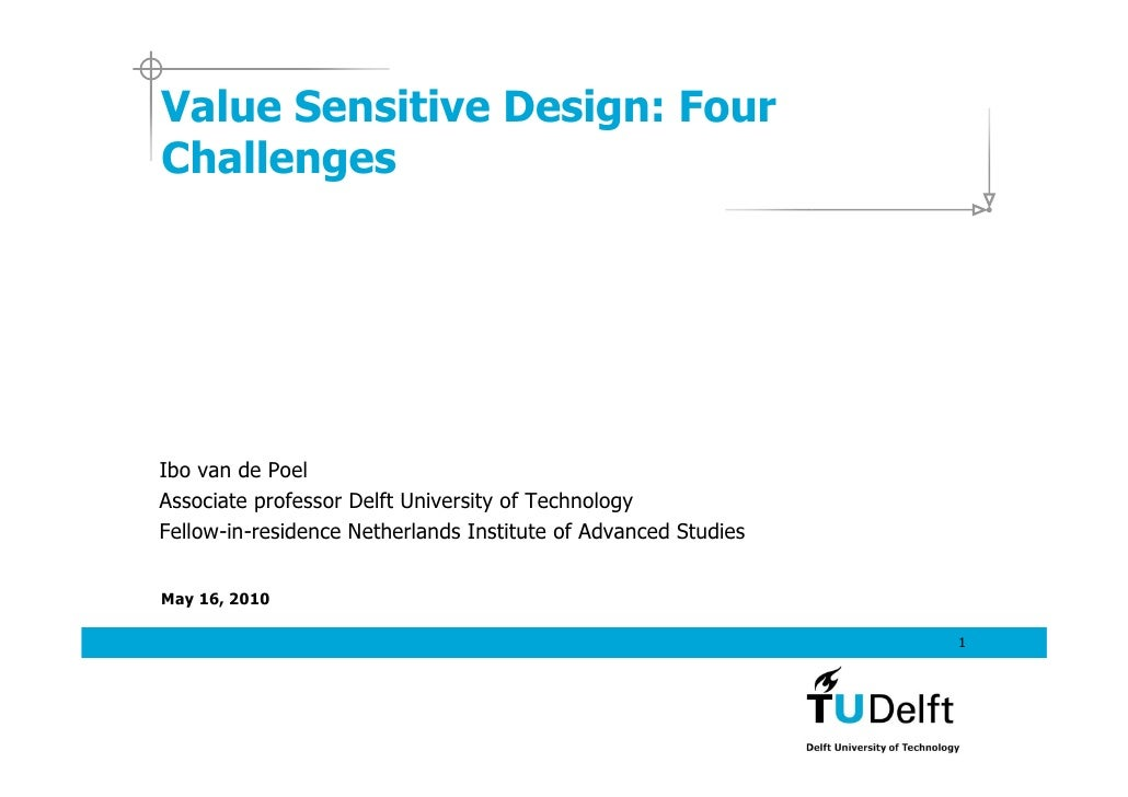 Value Sensitive Design: Four Challenges     Ibo van de Poel Associate professor Delft University of Technology Fellow-in-r...