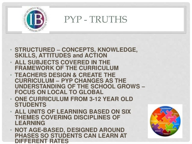 PYP - TRUTHS • STRUCTURED – CONCEPTS, KNOWLEDGE, SKILLS, ATTITUDES and ACTION • ALL SUBJECTS COVERED IN THE FRAMEWORK OF T...