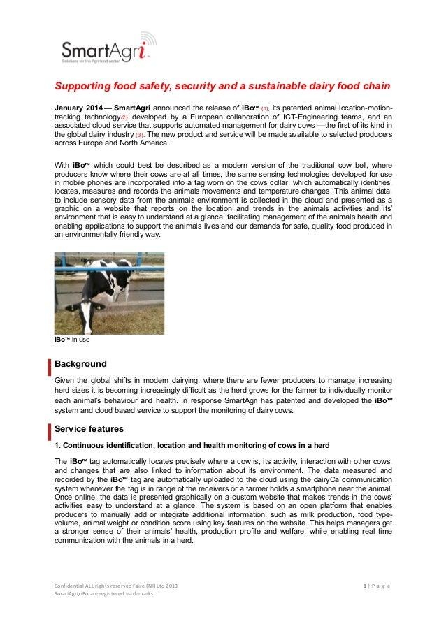 !  !  Supporting food safety, security and a sustainable dairy food chain January 2014 — SmartAgri announced the release o...