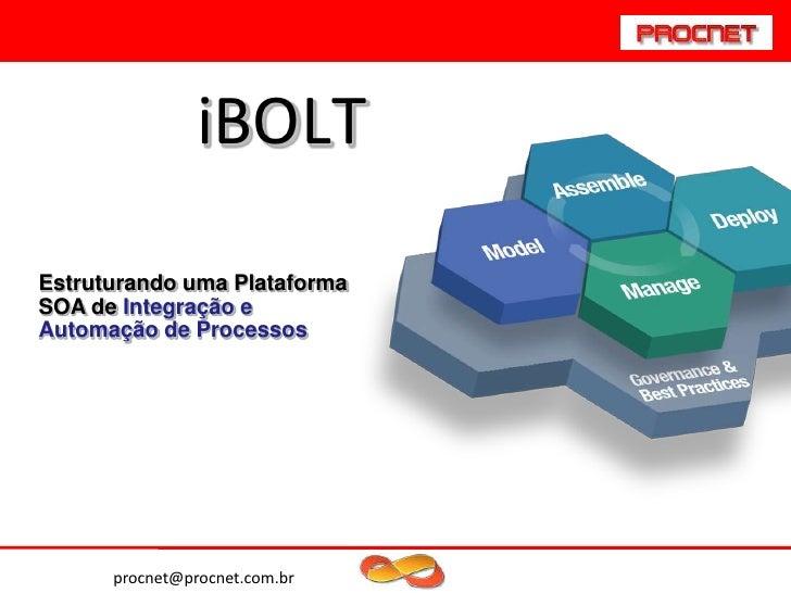 iBOLTEstruturando uma PlataformaSOA de Integração eAutomação de Processos      procnet@procnet.com.br