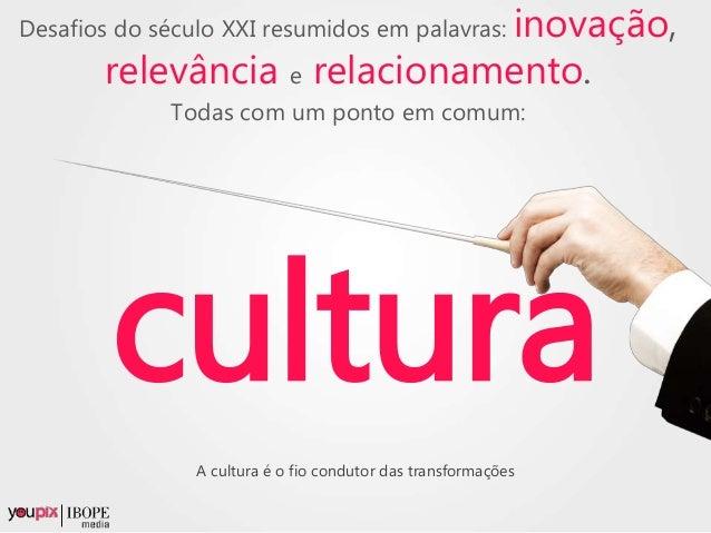 Desafios do século XXI resumidos em palavras: inovação, relevância e relacionamento. Todas com um ponto em comum: cultura ...