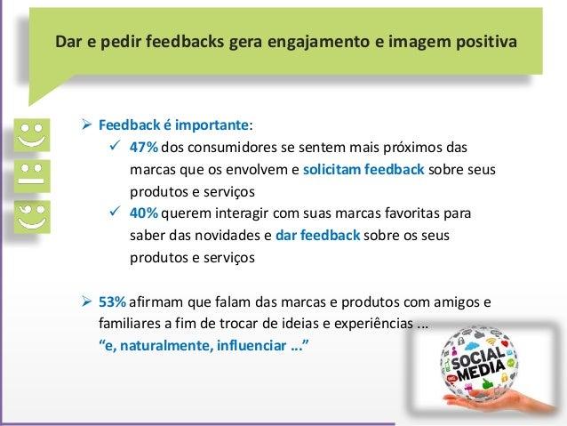 Feedback é importante:  47% dos consumidores se sentem mais próximos das marcas que os envolvem e solicitam feedback so...