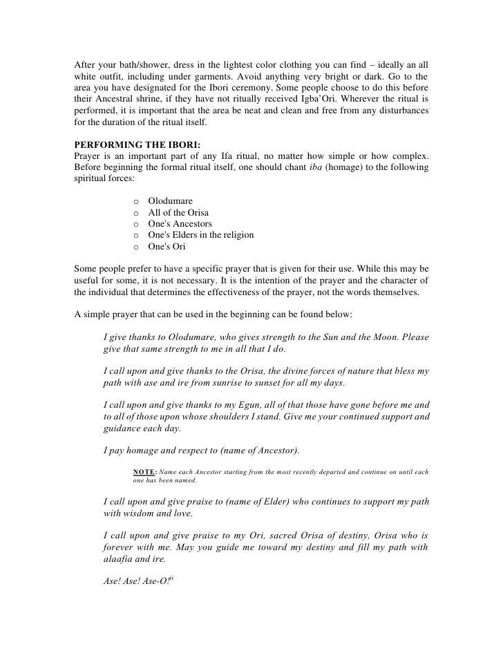 Ibori – a ceremony for praising and feeding the ori