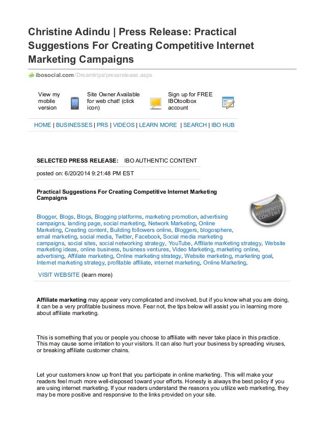Christine Adindu | Press Release: Practical Suggestions For Creating Competitive Internet Marketing Campaigns ibosocial.co...