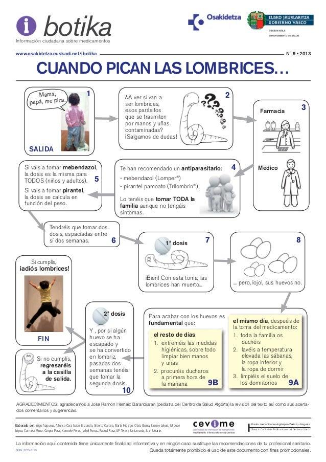 botika  Información ciudadana sobre medicamentos www.osakidetza.euskadi.net/ibotika  Nº 9 • 2013  CUANDO PICAN LAS LOMBRIC...
