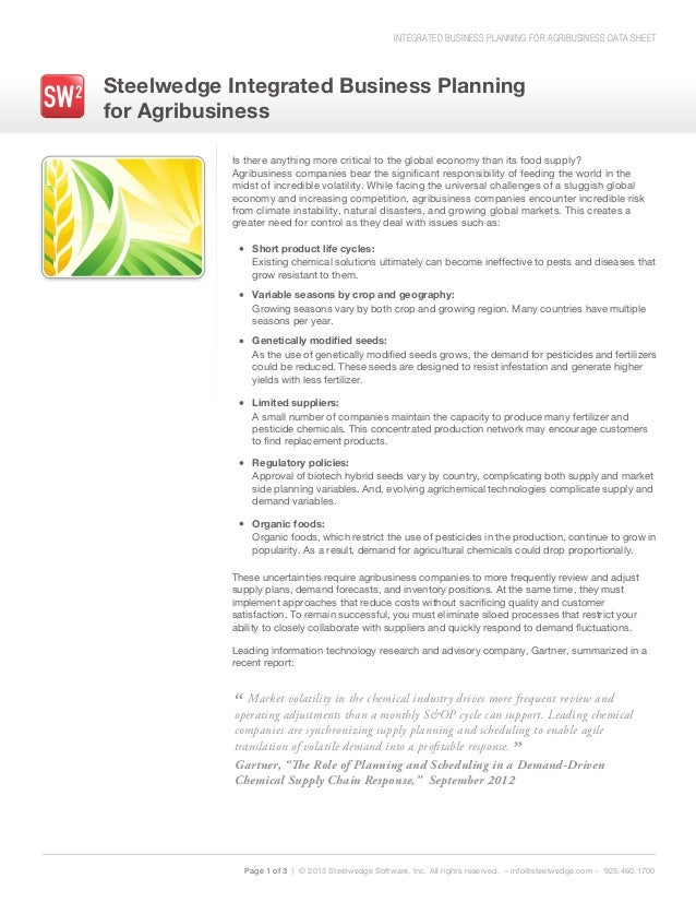 INTEGRATED BUSINESS PLANNING FOR AGRIBUSINESS DATA SHEETSteelwedge Integrated Business Planningfor AgribusinessPage 1 of 3...