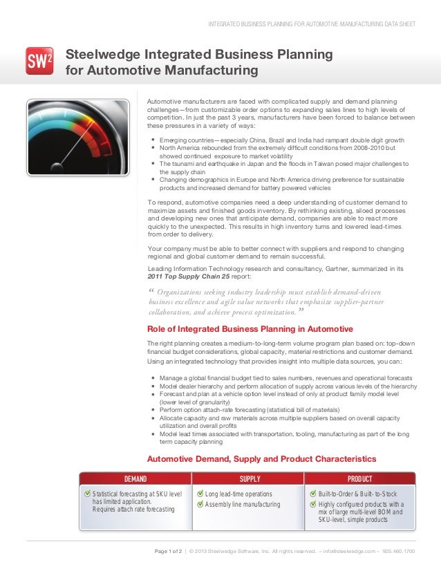 INTEGRATED BUSINESS PLANNING FOR AUTOMOTIVE MANUFACTURING DATA SHEETSteelwedge Integrated Business Planningfor Automotive ...