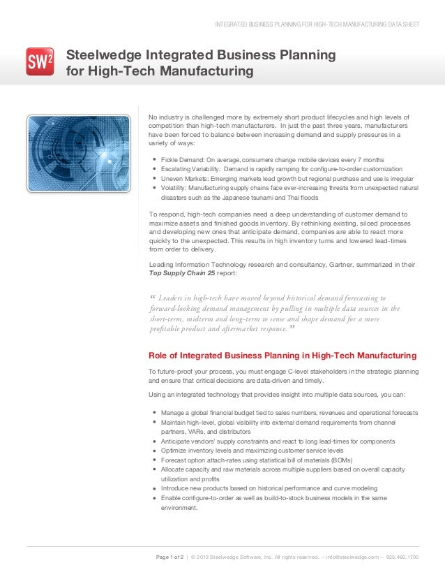 INTEGRATED BUSINESS PLANNING FOR HIGH-TECH MANUFACTURING DATA SHEET Steelwedge Integrated Business Planning for High-Tech ...