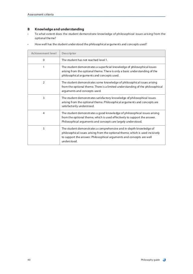 philosophy essay mark scheme